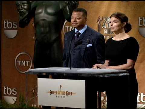 terrence howard and jeanne tripplehorn read the nominees for outstanding performance by a male actor in a leading role in a motion picture and... - terrence howard stock videos and b-roll footage