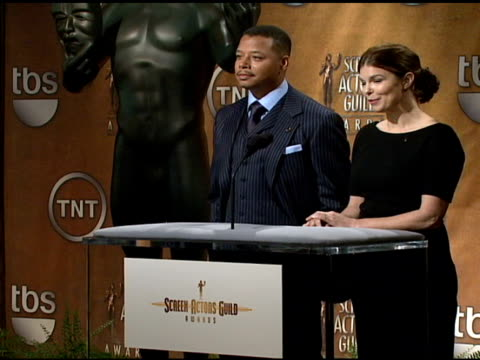 terrence howard and jeanne tripplehorn read the nominees for outstanding performance by the cast of a motion picture at the announcement of nominees... - terrence howard stock videos and b-roll footage