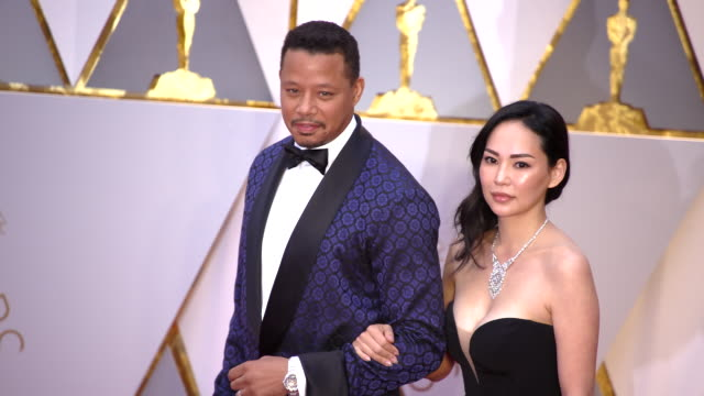terrence howard and mira pak at 89th annual academy awards - arrivals at hollywood & highland center on february 26, 2017 in hollywood, california.... - terrence howard stock videos & royalty-free footage