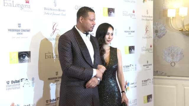terrence howard and mira pak at the global gift gala 12th annual dubai international film festival on december 12 2015 in dubai united arab emirates - terrence howard stock videos and b-roll footage