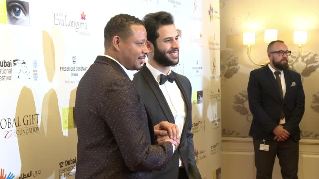 terrence howard and omar kamal at the global gift gala 12th annual dubai international film festival on december 12 2015 in dubai united arab emirates - terrence howard stock videos and b-roll footage