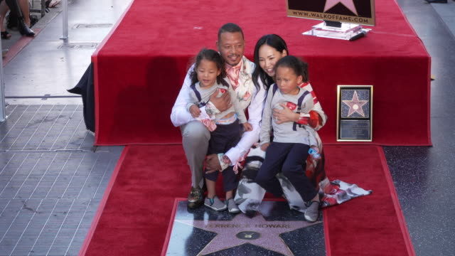 terrence howard, mira pak howard, qirin love and hero at the terrence howard honored with a star on the hollywood walk of fame on september 24, 2019... - terrence howard stock videos & royalty-free footage