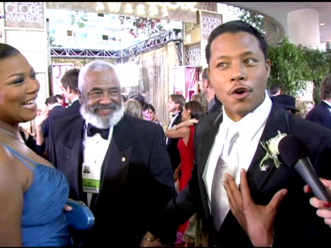 terrence howard on what it feels like to be at the golden globes at the 2006 golden globe awards arrivals at the beverly hilton in beverly hills,... - terrence howard stock videos & royalty-free footage