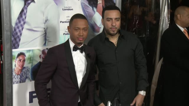 vidéos et rushes de terrence j and french montana at the perfect match los angeles premiere at arclight cinemas on march 07 2016 in hollywood california - arclight cinemas hollywood