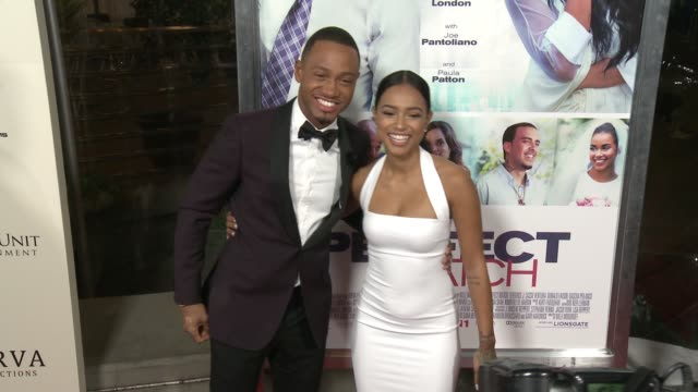 vidéos et rushes de terrence j and karrueche tran at the perfect match los angeles premiere at arclight cinemas on march 07 2016 in hollywood california - arclight cinemas hollywood