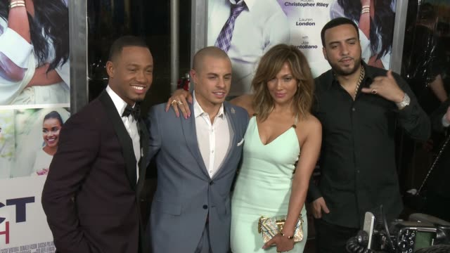 terrence j casper smart jennifer lopez and french montana at the perfect match los angeles premiere at arclight cinemas on march 07 2016 in hollywood... - arclight cinemas hollywood stock videos & royalty-free footage