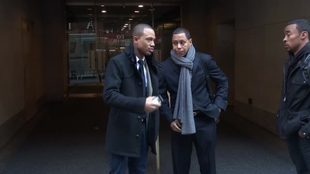 terrence jenkins with his brother outside of the today show in rockefeller center talks about being with hoda and kathie lee in new york city -... - kathie lee gifford stock videos & royalty-free footage