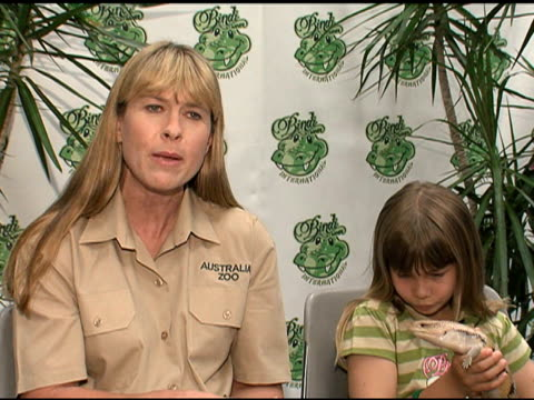 Terri Irwin on 100% of the profits from Bindi Wear International going to wildlife conservation at the Bindi Wear International Launch at NULL in Las...