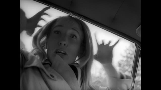 1968 Terrified woman flees cemetery chased by relentless zombie before locking herself in a car