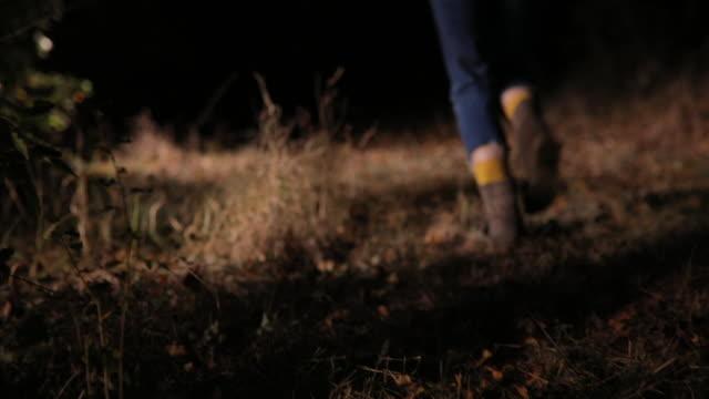森の中を実行している恐怖の若い女性 - 誘拐事件点の映像素材/bロール