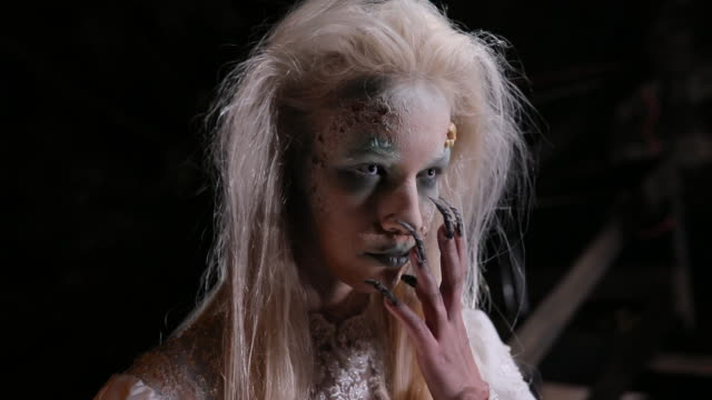 terrifying witch with big fingernails - stage make up stock videos & royalty-free footage