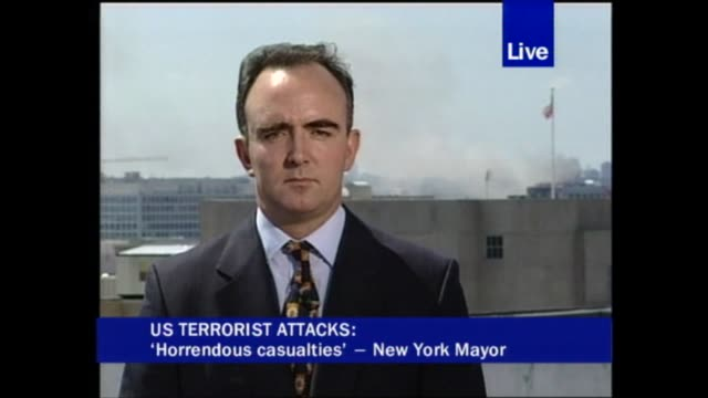 terror attacks on new york and the pentagon 1625 1814 itv news pab openender england london gir washington dc ext live james mates to camera sot... - the pentagon stock videos & royalty-free footage