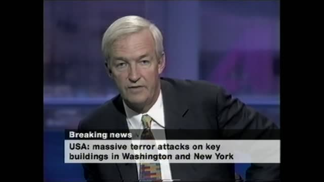 terror attacks on new york and the pentagon: channel 4 news openender: pab 15.15 - 16.30; england: london: gir: int jon snow live studio. - violence stock videos & royalty-free footage