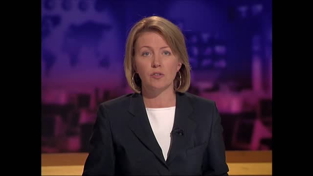 terror attacks on new york and the pentagon: extended itv evening news: pab 18.30 - 18.55; england: london: gir: int kirsty young live studio - itv evening news stock videos & royalty-free footage