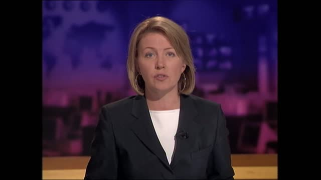 terror attacks on new york and the pentagon: extended itv evening news: pab 18.33 - 19.00; england: london: gir: int kirsty young live studio - itv evening news stock videos & royalty-free footage