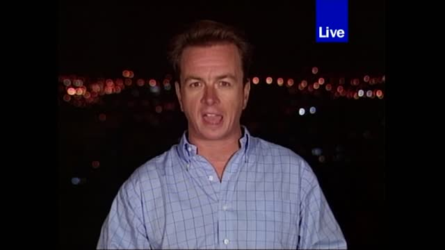 terror attacks on new york and the pentagon: extended itv evening news: pab 18.30 - 18.55; 18.39.32 israel: jerusalem: ext / night john irvine live... - itv evening news stock videos & royalty-free footage
