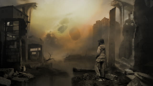 Terror of war. Matte painting. Ruins. Skull. Ecology or sci-fi.