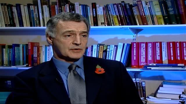 terror threat warning from head of mi5 england location unknown int professor michael clarke interview sot on terror threat within britain - イギリス情報局保安部点の映像素材/bロール