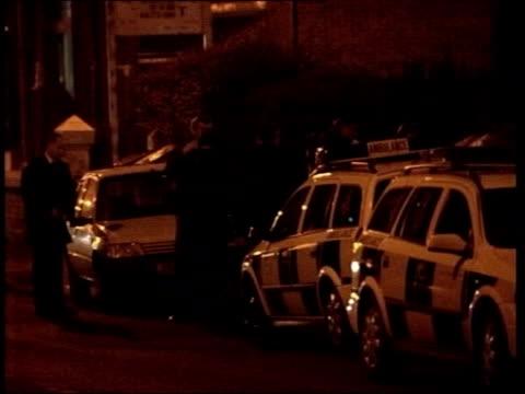terrorism & asylum seekers link: david blunkett statement on dangers; lib = no resale. manchester: crumpsall: ext/night police on street outside... - david blunkett stock videos & royalty-free footage