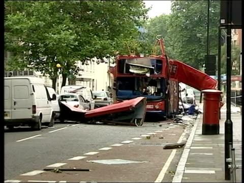 charles clarke in europe to discuss antiterror proposals tx gvs wreckage of no 30 bus following the bomb attack - charles clarke britischer politiker stock-videos und b-roll-filmmaterial