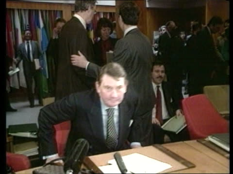 lockerbie bomb speculation; montreal canada paul channon mp transport sec takes seat tbv channon seated cms channon speaking at microphone - crime stock videos & royalty-free footage