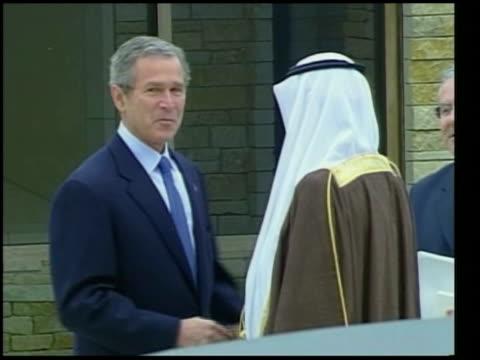 terrorism suicide bomb attacks many dead lib us president george wbush meeting crown prince abdullah - crown prince stock videos & royalty-free footage
