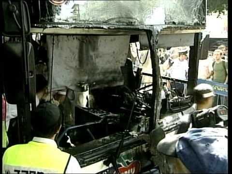 TerrorismTel Aviv 5 Killed in suicide bomber attack on bus ITN Front of bus damaged by bomb blast