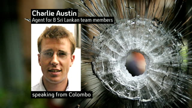 terrorist attack on sri lanka cricket team criticism of security measures still charlie austin / bullet hole in window and austin phono interview sot - cricket team stock videos and b-roll footage