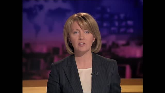 evening news special: pab 18.00 - 18.57; england: london: gir: int kirsty young live studio - itv evening news stock videos & royalty-free footage