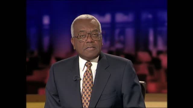 evening news special: pab 18.00 - 18.57; england: london: gir: int trevor mcdonald and kirsty young live studio introduction - itv evening news stock videos & royalty-free footage