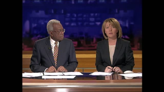 evening news special: pab 18.00 - 18.57; england: london: gir: int kirsty young and trevor mcdonald live studio - itv evening news stock videos & royalty-free footage