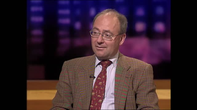 lunchtime news special: pab 12.00 - 13.37; 13.16.27 england: london: gir: int prof gwyn prins live studio interview - itv lunchtime news stock videos & royalty-free footage