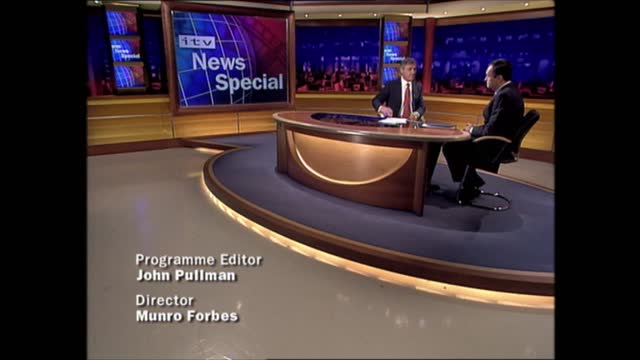 lunchtime news special: pab 12.00 - 13.37; england: london: gir: int john suchet live studio and sign off end of itv news special at 13.37.52 - itv lunchtime news stock videos & royalty-free footage