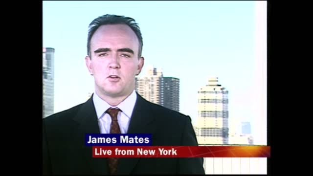 lunchtime news special: pab 12.00 - 13.37; usa: new york: ext james mates live 2-way ex new york - itv lunchtime news stock-videos und b-roll-filmmaterial
