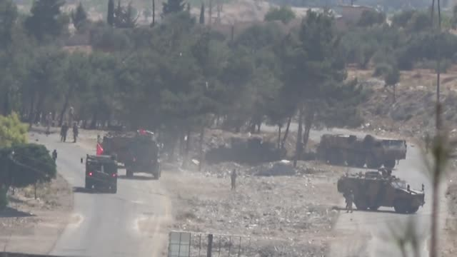 terrorist explosive hit a joint patrol of turkish and russian troops in northwestern syria, causing damage but no casualties, turkey's national... - ryssland bildbanksvideor och videomaterial från bakom kulisserna
