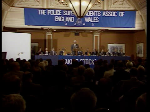 terrorist funds squeeze; terrorist funds squeeze; england: blackpool home sec douglas hurd standing at podium as others sitting next pull out... - douglas hurd stock-videos und b-roll-filmmaterial