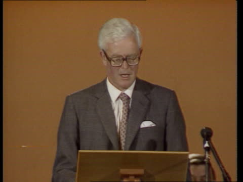terrorist funds squeeze; terrorist funds squeeze; itn int england: blackpool home sec douglas hurd standing at podium as others sitting next pull out... - douglas hurd stock-videos und b-roll-filmmaterial