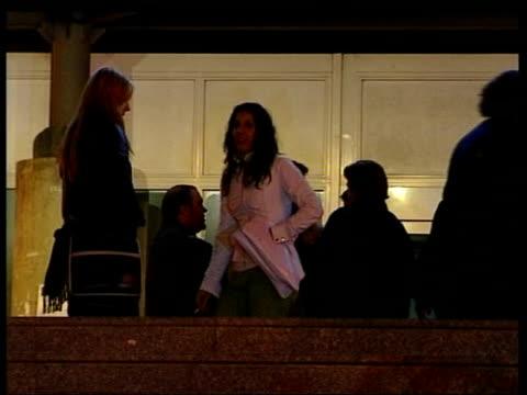 terrorist train bombs: injured/reaction; itn spain: madrid: gregoria maranon university hospital: ext/night lms relatives of train crash victims... - terrorism stock videos & royalty-free footage