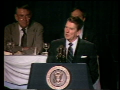 Terry Anderson hostage video released TX Washington Ronald Reagan speaking at podium San Francisco EXT George HW Bush and wife Barbara Bush towards...