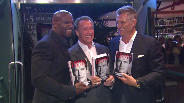 terry crews, arnold schwarzenegger, dolph lundgren at arnold schwarzenegger celebrates the launch of his autobiography, total recall with a party at... - autobiography stock videos & royalty-free footage