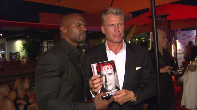 terry crews, dolph lundgren at arnold schwarzenegger celebrates the launch of his autobiography, total recall with a party at s mixology101 on... - autobiography stock videos & royalty-free footage