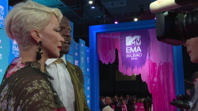 terry crews, rebecca king-crews at mtv europe music awards on november 04, 2018 in bilbao, spain. - mtv europe music awards stock videos & royalty-free footage