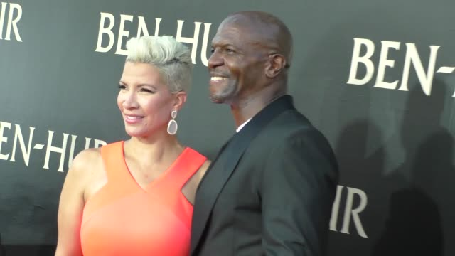 terry crews rebecca kingcrews at the premiere of paramount pictures' benhur at tcl chinese theatre in celebrity sightings in los angeles - paramount pictures stock videos and b-roll footage