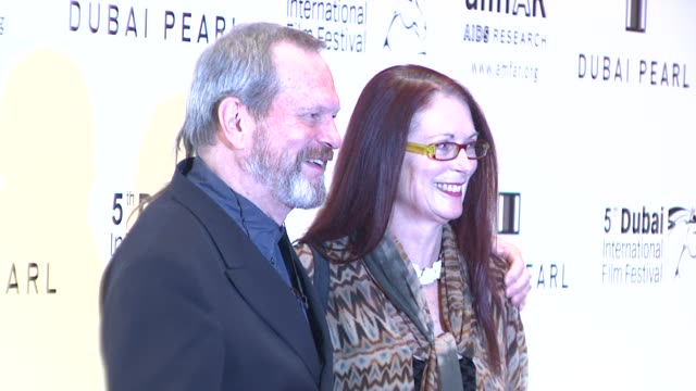 terry gilliam and wife at the 2008 dubai international film festival amfar arrivals at dubai - terry gilliam stock videos & royalty-free footage