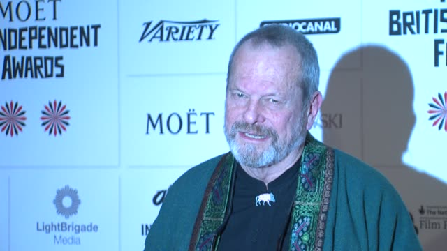 terry gilliam at british independent film awards arrivals at old billingsgate market on december 9, 2012 in london, england. - terry gilliam stock-videos und b-roll-filmmaterial