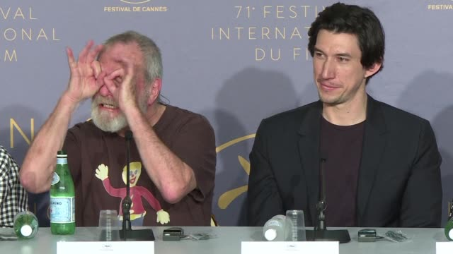 terry gilliam gives a press conference as he gets ready to show the man who killed don quixote as the closing film of the cannes festival out of... - terry gilliam stock videos & royalty-free footage