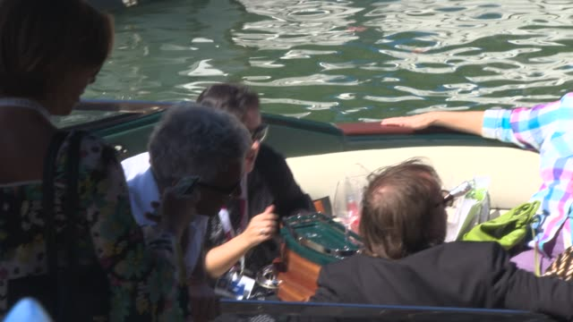 stockvideo's en b-roll-footage met terry gilliam melanie thierry and david thewlis at celebrity sightings venice film festival day 06 on september 01 2013 in venice italy - terry gilliam