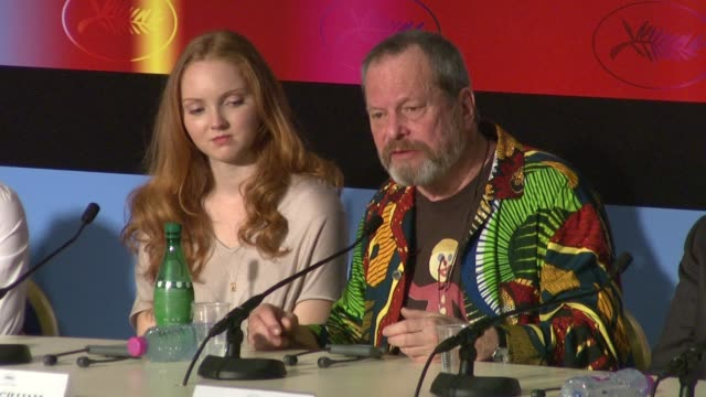 stockvideo's en b-roll-footage met terry gilliam on heath ledger and his role in the film at the cannes film festival 2009 the imaginarium of dr parnassus press conference at cannes - terry gilliam