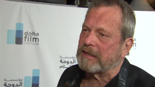 stockvideo's en b-roll-footage met terry gilliam on how audiences watch heavily marketed films on seeing the same films again and again at the doha film institute launch cannes film... - terry gilliam