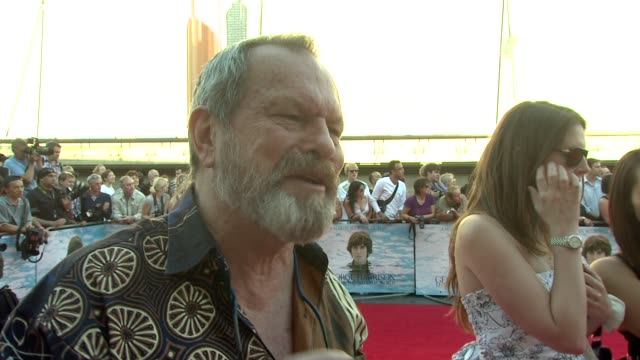 stockvideo's en b-roll-footage met terry gilliam on how george harrison may not have been prominent but was very unique at the george harrison living in the material world uk premiere... - terry gilliam